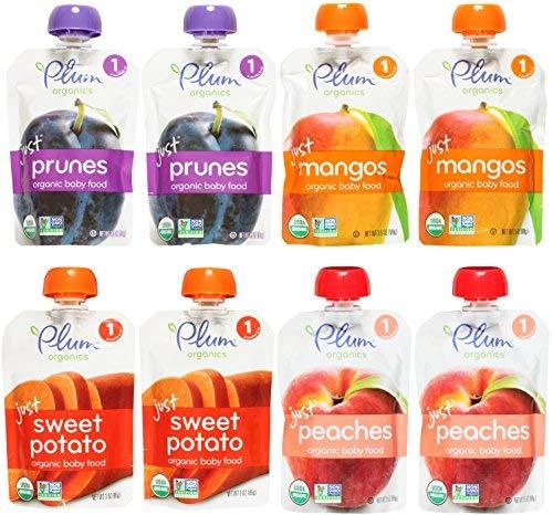 Plum Organics Stage 1 Just Fruit & Veggies Variety Pouch Bundle: (2) Just Prunes 3.5oz, (2) Just Mangos 3.5oz, (2) Just Sweet Potato 3oz, and (2) Just Peaches 3.5oz (8 Pack Total) by Plum Organics