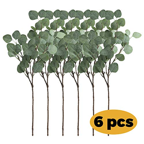 6 Eucalyptus Stems Decorative Artificial/Faux/Fake Silver Dollar Thick&Real SILK Leaves + Cut&Shape Branches + Stems Garland Greenery for Decor Table Vases (Improved Packaging to Keep Leaves Flat)