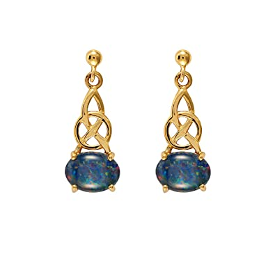 2e83eb8274115 Ivy Gems 9ct Yellow Gold Triplet Opal Celtic Knot Drop Earrings