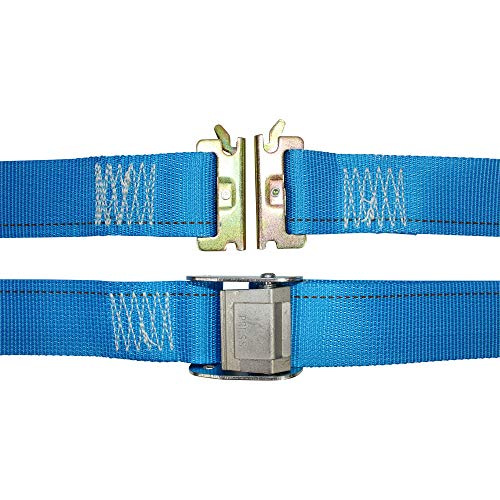 E-Track Ratcheting Cargo Strap - SGT KNOTS - E Track Heavy Duty Adjustable Cam Buckle Straps - ETrack Lashing Tie Down for Loading Truck Bed, Flatbed (2 in x 20 ft Strap with Cam - Blue)