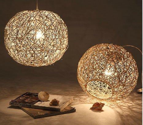 TIANLIANG04 lampadario Camera da letto in rattan la luce dei ...