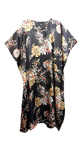 (15030) Damen Schwarz with Gold Floral Print Silky Satin Long Caftan/Kaftan. One Size Fit All:- UK 10-32