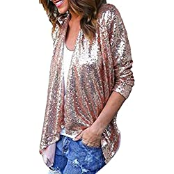 Wintialy Womens Plus Size Shimmer Glam Glitter Sequined Tops Cover Up Blouse (Pink, S)