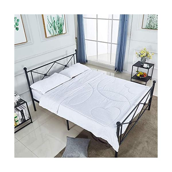 Queen Bed Frame, Platform Metal Bed Frame Foundation Queen Size with Headboard and Footboard 4