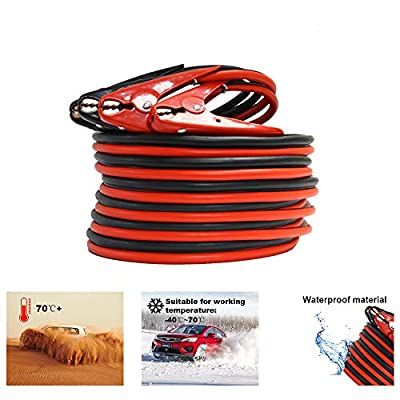 1-Gauge 800A Heavy Duty Jumper Battery Cables 25 Ft Booster Jump Start - 25' Allows you to boost battery from behind a vehicle!: Automotive