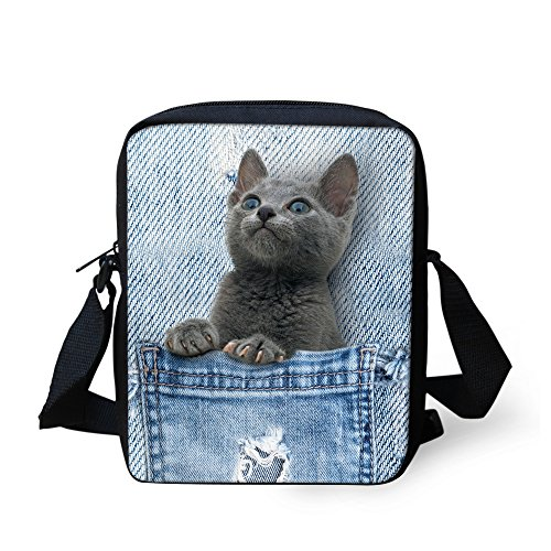 Dog 5 Denim body Printed Handbags Shoulder Mini Bag Pocket Cross Women Small Cat IDEA Pet Cute HUGS wUqXTX