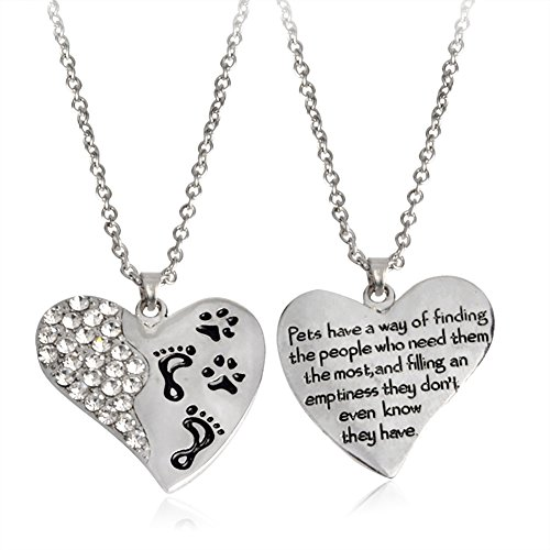 Necklace Opeof Fashion Heart Shape Pendant Footprint Dog Paw Pet Necklace Neckchain Jewelry - Silver