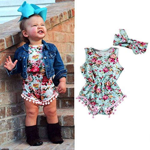 [FEITONG Toddler Infnt Baby Girls Floral Bodysuit Romper Jumpsuit Sunsuit Clothes Set (6 Months,] (Halloween Costumes For 16 Month Old Girl)
