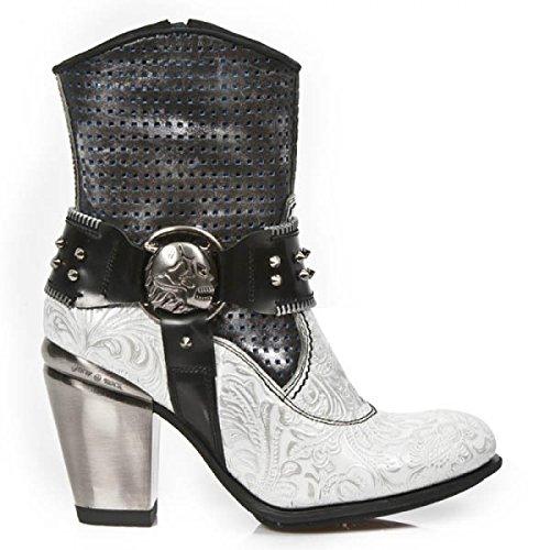 New Rock Boots M.tx005-c2 Gotico Hardrock Punk Damen Stiefelette Weiß