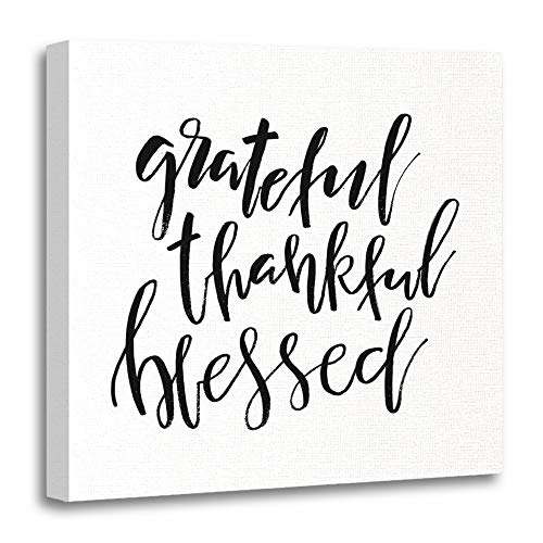 Emvency Painting Canvas Print Artwork Decorative Print Wooden Frame Grateful Thankful Blessed Inspirational Handwritten Text Quote Thanksgiving Day 12x12 Inches Wall Art for Home Decor