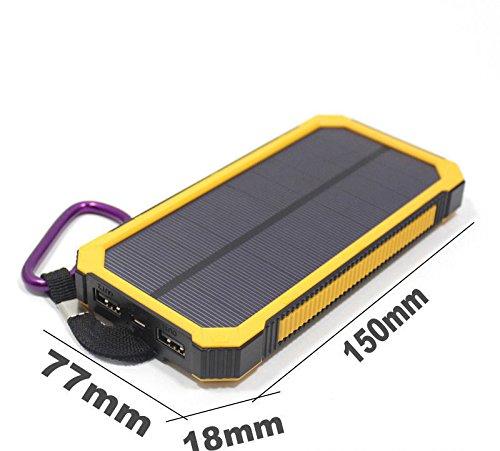 new style 095c7 13641 Waterproof 300000mAh Portable Solar Charger Dual USB Battery Power Bank F  Phone (Yello)