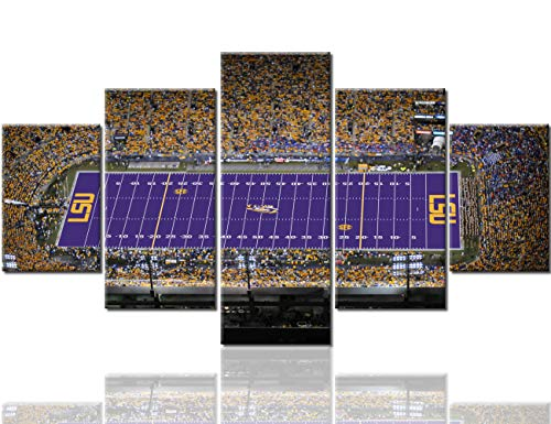 Native American Decor Death Valley Paintings Tiger Stadium Posters and Prints on Canvas LSU Tigers Football Team 5 Panel Modern Artwork Home Decor for Living Room Framed Ready to Hang(60