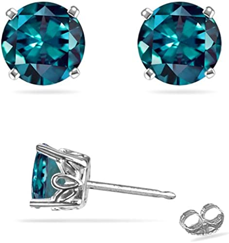 Alexandrite /& White Pearl Round Stud Earrings White Gold Silver