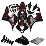 9FastMoto Fairings for honda 2007 2008 CBR600RR F5 07 08 CBR 600RR F5 Motorcycle Fairing Kit ABS Injection Set Sportbike Cowls Panels (Black & Red) H0043