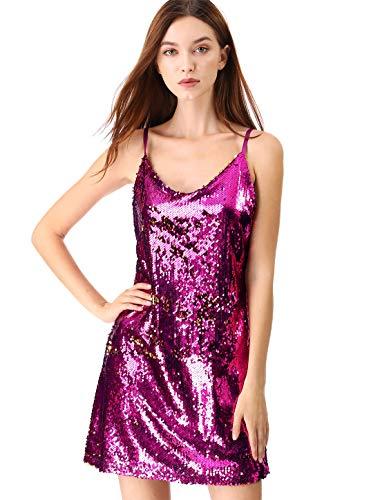 Sequin Dress - Allegra K Women's Glitter Sparkle Adjustable Strap Mini Party Sequin Dress M Pink