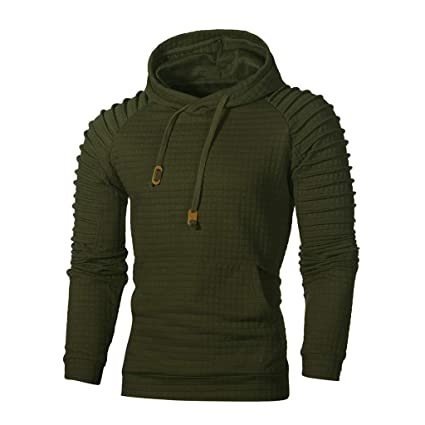 Amazon.com: Mens Casual Long Sleeve Plain Pullover Drawstring Hoodie Basic Breathable Sweatshirt (Army Green, XL): Kitchen & Dining