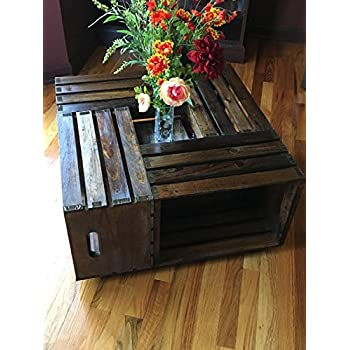 Rustic Square Crate Style Wood Like Coffee Table With Open Shelf And  Storage In Espresso.