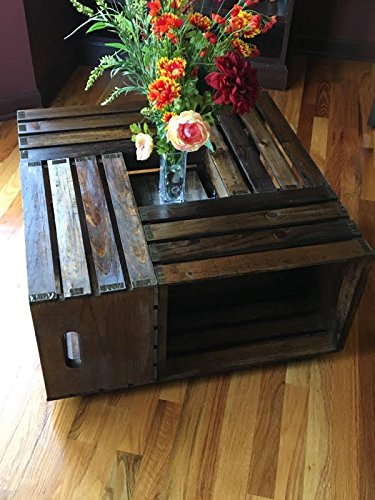 Rustic Square Crate Style Wood Like Coffee Table with Open Shelf and Storage in Espresso. These Coffee Tables Offer Convenience and Multi-Functional Concepts to Your Living Room Furniture
