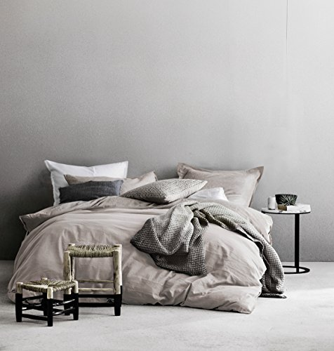 Eikei Washed Cotton Chambray Duvet Cover Solid Color Casual Modern Style Bedding Set Relaxed Soft Feel Natural Wrinkled Look (Queen, Barely Mauve)