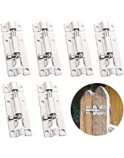 6 Stuks Deurbout Roestvrij Staal Deurgrendel Roestvrij Staal Security Slide Latch Lock Deurbout Schuifslot Deurgrendel RVS Voor Badkamer Toilet Schuur Slaapkamer Klikgrendel Eenvoudige Montage