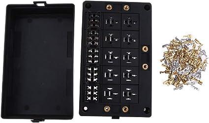 Backbayia - Portafusibles de relé con 10 relé y 15 fusibles en caja de relé de fusible de doble entrada: Amazon.es: Coche y moto
