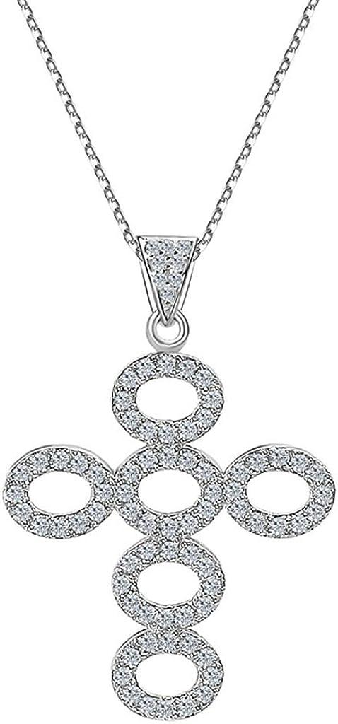 AMDXD Jewelry Silver Plated Women Pendant Necklace Cross Round Zirconia Cubic Zirconia as Birthday Gift