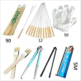 JSDOIN Grill Set - 8-Piece BBQ Tools - Duty Stainless-Steel Barbecue Grilling Utensils - Premium Grilling Accessories for Barbecue - Tongs, Fork, and Disposable gloves, clips, bamboo sticks, brushes,