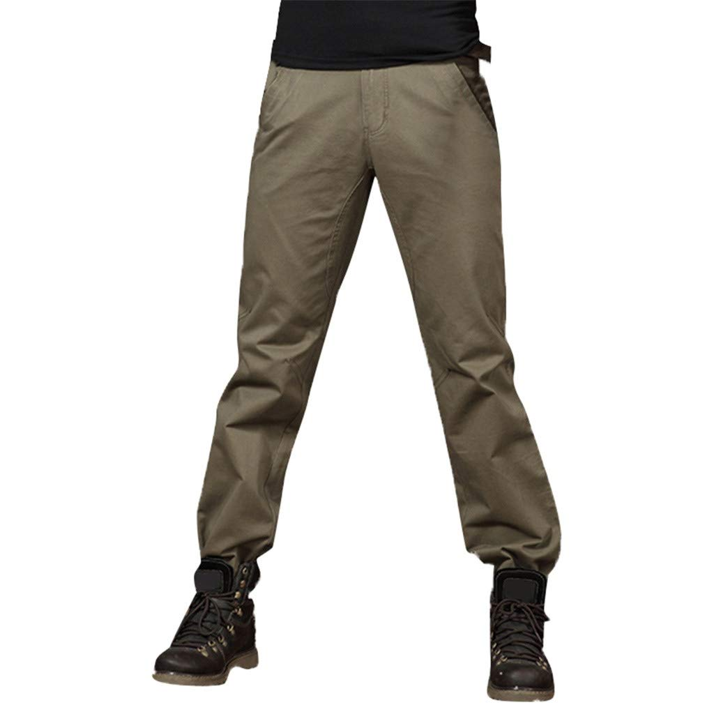 Men's Sport Pant Cotton Straight Loose Casual Classic Fit Pants Pure Color Overall Army Green
