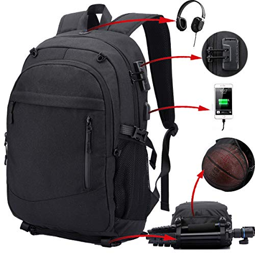 Travel Backpack for Men, Water Resistant Durable Large Laptop Backpack with Anti Theft, Basketball Bag USB Charging Port Soccer Sports Backpack Gym Tote Futbol Football Volleyball ()