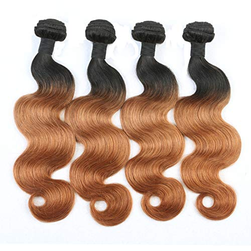 IMAYLI Ombre Body Wave Virgin Hair 4 Bundles 7A Ombre Human Hair Body Wave Bundles Two Tone 1B/30 Brazilian Virgin Hair Extensions(16161818) ()