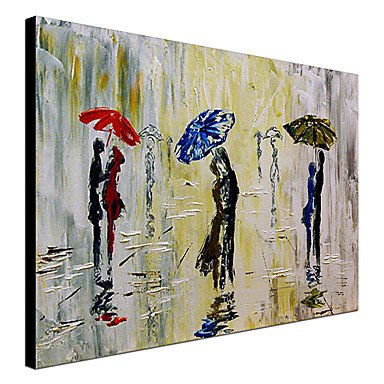 GuiXinWeiHeng Raining pedestrians in hand-painted oil painting stretched frame 1307-PE0277 rain figures embrace, 20