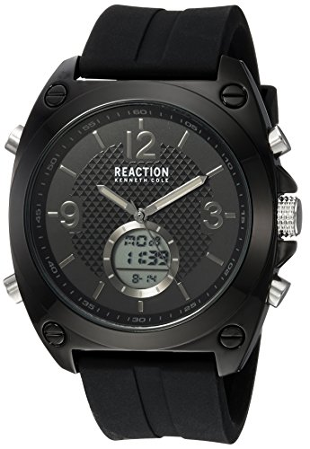 Kenneth Cole REACTION Men's Quartz Metal and Rubber Casual Watch, Color:Black (Model: RKC0169002)