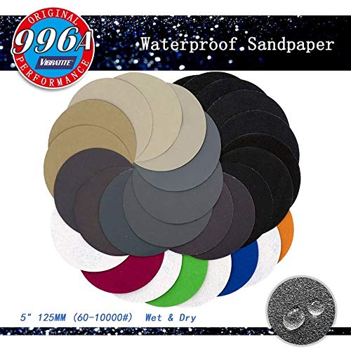 Maslin 700pcs 5 Inch 125mm Waterproof Sanding Discs Hook & Loop Silicon Carbide Sandpaper 80/120/220/320/400/600/1200 Assorted Grits