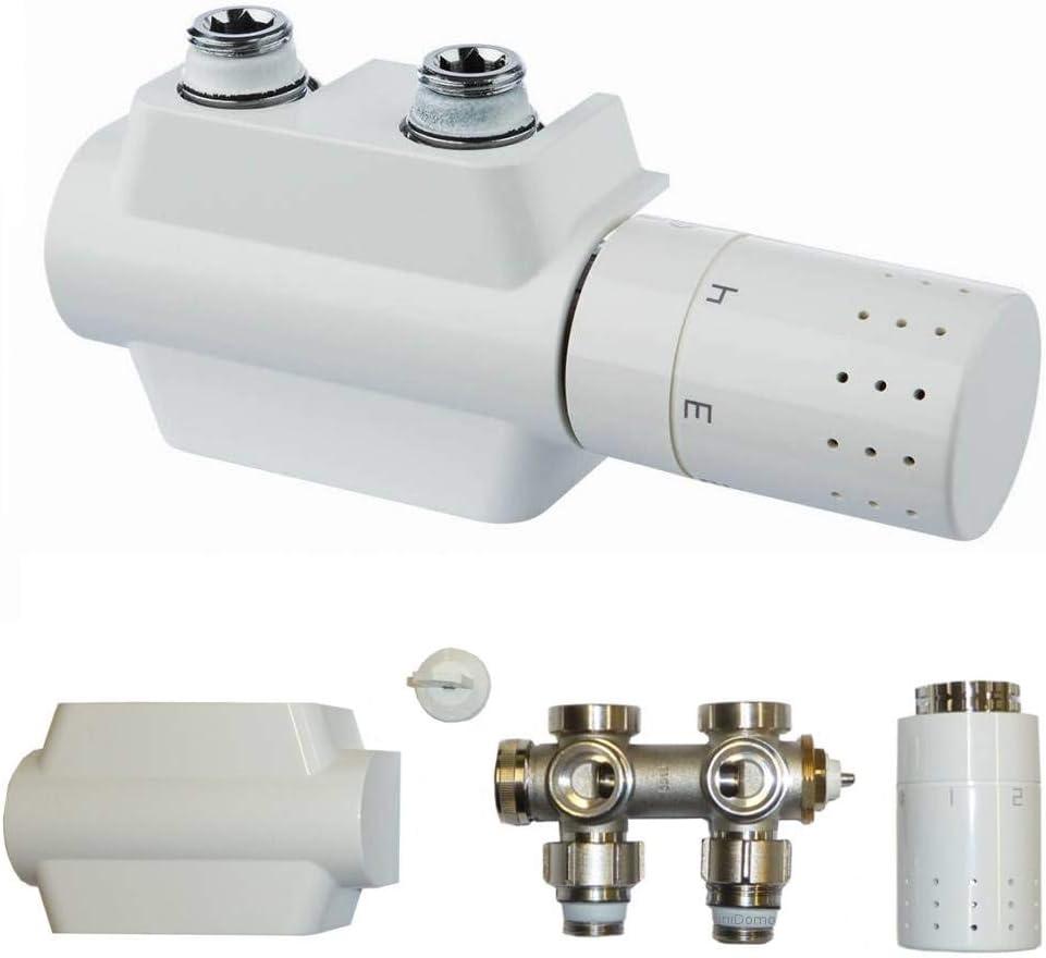Buderus - Juego de válvulas (forma de esquina y paso, incluye cabezal termostato)