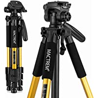 Mactrem PT55 Travel Camera Tripod Lightweight Aluminum for DSLR SLR Canon Nikon Sony Olympus DV with Carry Bag -11 lbs(5kg) Load ( Gold)