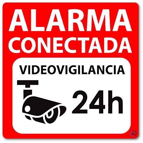 Vinilo autoadhesivo disuasorio (pegatina) alarma 15x15 Alarma Conectada Videovigilancia 24H