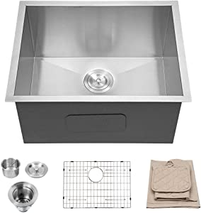 "Lordear 23"" x 18"" x 12"" Laundry Utility Sink Deep Undermount Single Bowl 18 Gauge Stainless Steel Sinks"