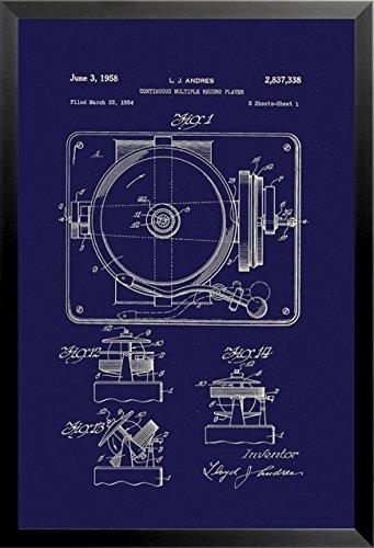 Buyartforless Enmarcado Tocadiscos Diagrama Azul Marino por ...