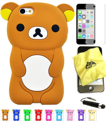 Bukit Cell ® Bundle - 4 Items: Bukit Cell ® BROWN 3D Teddy Bear Soft Silicone Case for iPhone 5C, Bukit Cell ® Cleaning Cloth, Screen Protector and Metallic Stylus Touch Pen with Anti Dust Plug (I Phone 5c Case Teddy Bear)