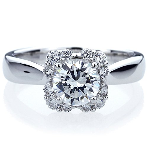 Side Deco Ring (Platinum Plated Sterling Silver 1.25ct Round CZ Side Stone Deco Wedding Engagement Ring ( Size 5 to 9 ), 7)