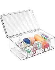 mDesign - Opbergbox - verbandtrommel/medicijnbox - voor EHBO-spullen, medicijnen, medische tandheelkundige benodigdheden - 6 compartimenten - doorzichtig