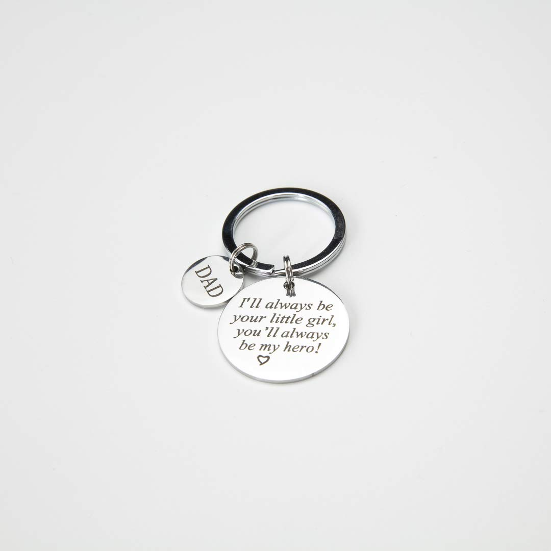 Father's Day Key Chain - I Will Always Be Your Little Girl, You Will Always Be My Hero Keychain from Daughter to Dad, Perfect Gift for Daddy Birthday, Father Day, Christmas, Thanksgiving