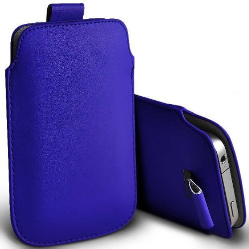 C63–Apple iPhone 5S Premium morbido PU Tab custodia flip–blu scuro