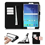 Samsung Galaxy Tab E 8.0 Case, FYY [Super Functional Series] Premium PU Leather Case Stand Cover with Card Slots, Note Holder, Quality Hand Strap and Elastic Strap for Samsung Galaxy Tab E 8.0 Black