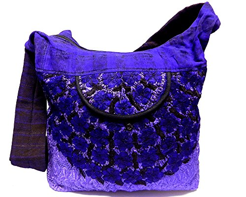 Large Boho Embroidered Floral Stitch Casual Fashion Travel Natural Dyed Plaid Sling Zipper Purse Bag Crossbody Shoulder Strap (Purple)