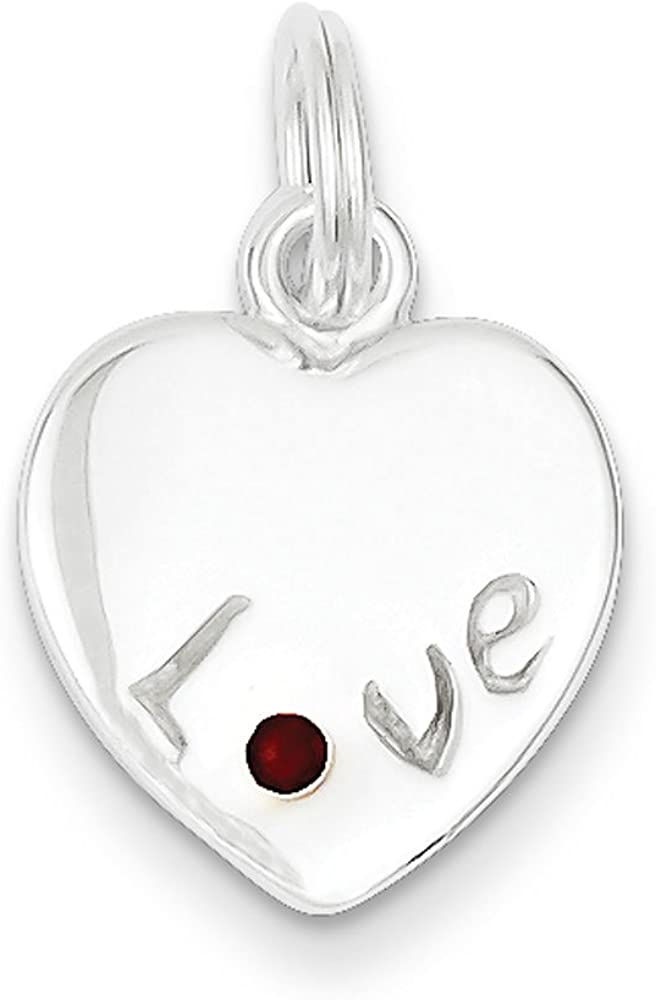 .925 Sterling Silver Siam Stellux Crystal Love Heart Charm Pendant