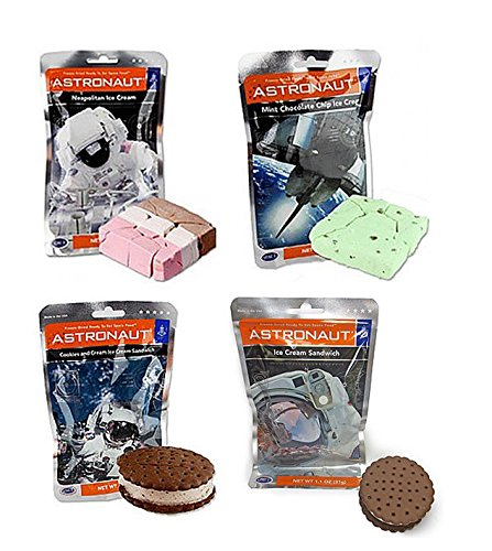Astronaut Ice Cream Neapolitan, Mint, Cookies & Cream, and Ice Cream Sandwich Freeze Dried Food – Variety Pack of 4