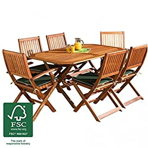 Wooden Garden Furniture Set 6 Seat Folding Patio Table Chairs Ideal For Outdoor Living And