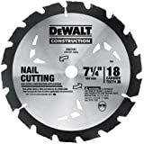 DEWALT DW3191 Series 20 7-1/4-Inch 18 Tooth Nail Cutting Saw Blade with 5/8-Inch and Diamond Knockout Arbor
