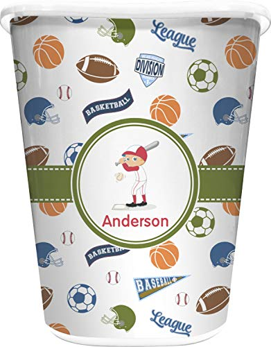 RNK Shops Sports Waste Basket - Single Sided (White) (Personalized)